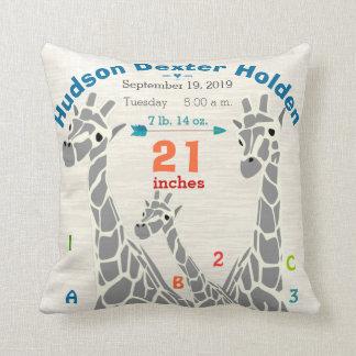 Giraffe Family Baby Boy Birth Record Birth Stats Kissen