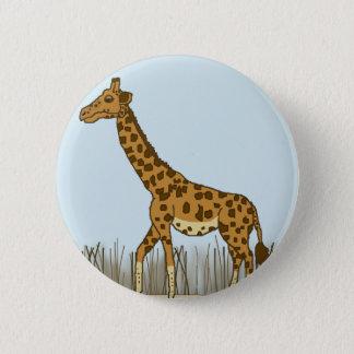 Giraffe in den Wiesen Runder Button 5,1 Cm