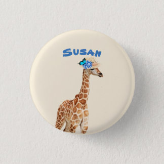 Giraffe in einem Hut mit blauem Runder Button 3,2 Cm