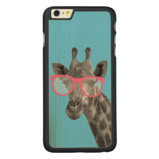 Giraffe mit rosa Glas-niedlichem lustigem Carved® Maple iPhone 6 Plus Hülle