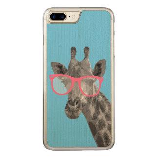 Giraffe mit rosa Glas-niedlichem lustigem Telefon Carved iPhone 8 Plus/7 Plus Hülle