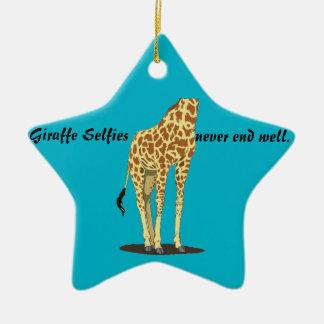 Giraffe Selfies Keramik Stern-Ornament