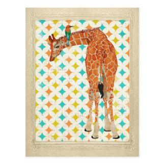 Giraffe u. kleine Vogel-Postkarte Postkarte