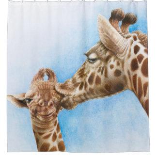 Giraffe und Kalb Duschvorhang