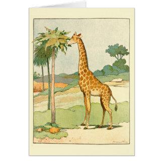 Giraffe, welche die Akazie illustriert isst Karte