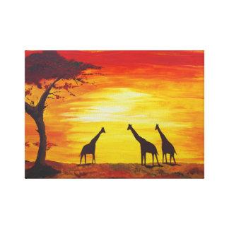 Giraffen am Sonnenuntergang (Kunst Kimberlys Leinwanddruck