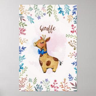 Giraffen-Aquarellplakat Poster