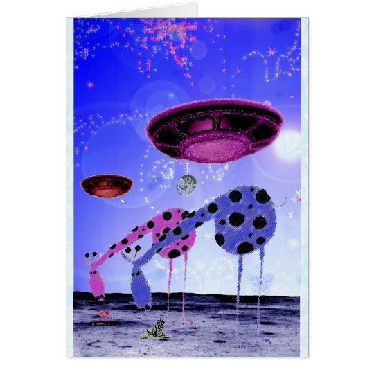 Giraffen auf dem Mond Grußkarte