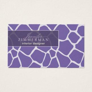 Giraffen-Druck-Designer-Visitenkarte:: Lila Visitenkarten