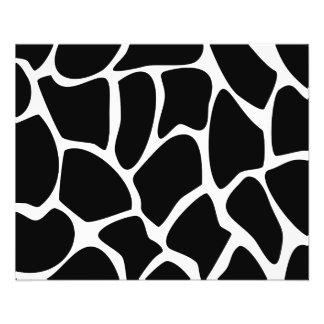 Giraffen-Druck-Muster. Tierdruck-Entwurf, schwarz 11,4 X 14,2 Cm Flyer