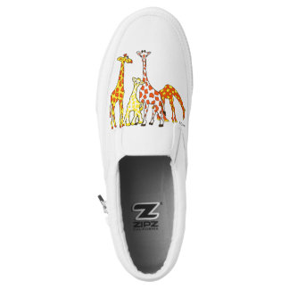 Giraffen-Familie in orange und gelben Slipon Slip-On Sneaker