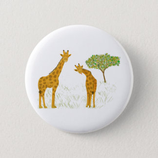 Giraffen in der Savanne Runder Button 5,7 Cm
