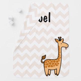 Giraffen-kundenspezifische Zickzack Baby-Decke Kinderwagendecke