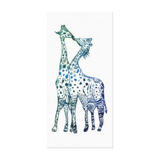 Giraffen küssen das Zeichnen des Single-Druckes Leinwanddruck