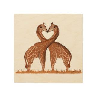 Giraffen-Liebe-Herz-hölzerne Platten-Wand-Kunst Holzleinwände