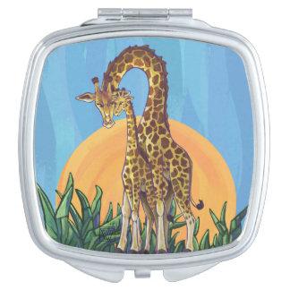 Giraffen-Mutter und Baby Taschenspiegel