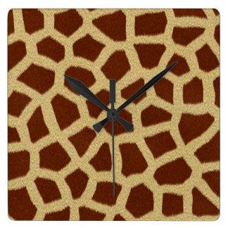 Giraffen-Pelz-Quadrat-Uhr Quadratische Wanduhr