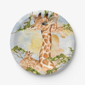 Giraffen-Porträt-Tier-Bild Pappteller