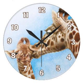 Giraffen-u. Kalb-Wanduhr Große Wanduhr