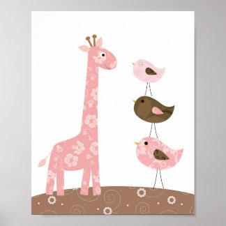 Giraffen- und Vogel-Kinderzimmerkunst Poster