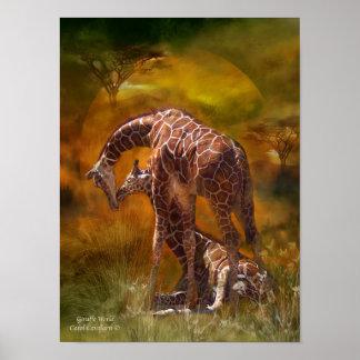 Giraffen-Weltkunst-Plakat/Druck Poster