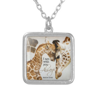 Giraffenanhänger Versilberte Kette