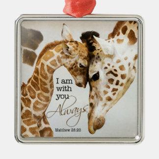 Giraffenverzierung Quadratisches Silberfarbenes Ornament