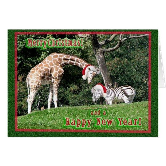 Giraffezebra-Weihnachten Karte