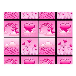 Girlie rosa Herzen der Liebe Postkarte