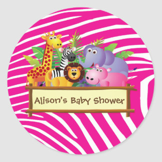 Girls cute jungle safari baby shower favor favours runder aufkleber