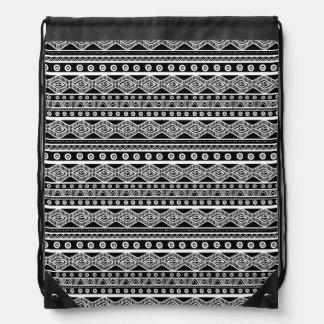Girly aztekischer Drawstring-Schwarzweiss-Rucksack Turnbeutel