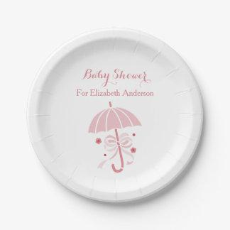 Girly Baby-Duschen-niedlicher rosa Regenschirm mit Pappteller