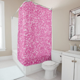 Girly bezaubernder rosa Imitat-Glitzer-Hintergrund Duschvorhang