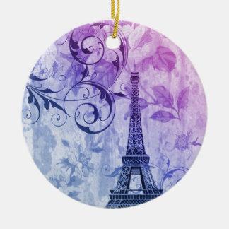 Girly Chic lila Blumenturm paris Eiffel Rundes Keramik Ornament