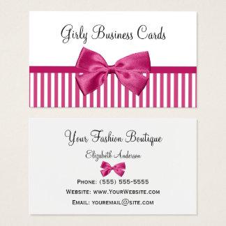 Girly heller rosa und weiße Streifen-niedlicher Visitenkarte