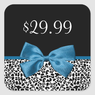 Girly Leopard-Druck-Preis-Umbau-hübsches blaues Quadratischer Aufkleber
