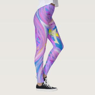Girly lila rosa blaues abstraktes gewundenes leggings