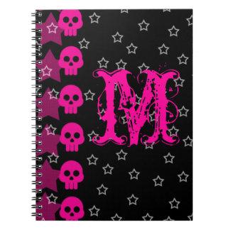 Girly monogramm-Initialen-Anmerkungs-Buch des Notizbuch