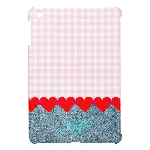 Girly niedliche Monogramm-Rosa-Save the Date Denim iPad Mini Hülle