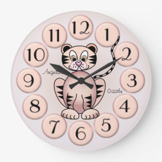 Girly niedliche Uhr Tiger-Rosa-Prinzessin-Wand