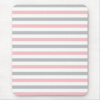 Girly Pastellrosa-und Grau-Streifen-Mausunterlage Mousepad