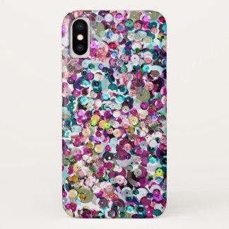 Girly Regenbogen-ImitatSequins Bling iPhone X Hülle