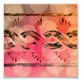 Girly rosa Bokeh Gold und schwarzer Stammes- Fotodrucke