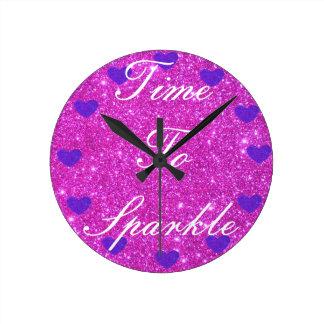 Girly rosa funkelnd Glittery Zeit, zu funkeln Uhr