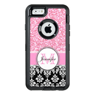 Girly, rosa, Glitter-schwarzer Damast OtterBox iPhone 6/6s Hülle