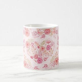 Girly rosa Herzblumenwatercolor-Blumen-Tasse Kaffeetasse