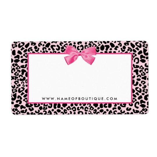 Girly rosa Leopard-Druck-niedliche Versandetikett