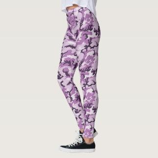 Girly rosa/lila Waldtarnungs-Muster Leggings