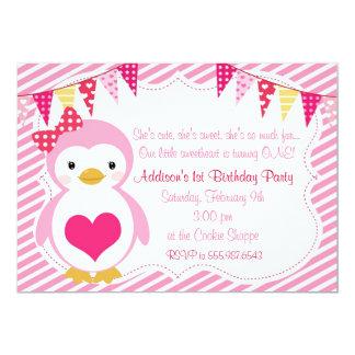 Girly SchatzPenguinvalentine-Geburtstags-Party Karte