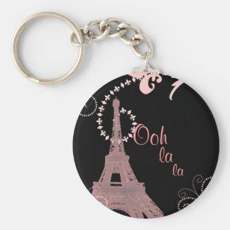 girly schicker französischer Landparis-Eiffelturm Standard Runder Schlüsselanhänger